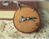ON SALE  Silver Fox Necklace on Wood Slice