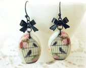 ON SALE Porcelain Birdcage Earrings with Bow