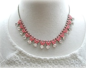 Rhinestone Necklace in Neon Pink