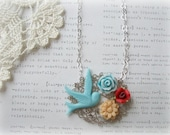 ON SALE   Silver Filigree with Bird and Flowers Necklace
