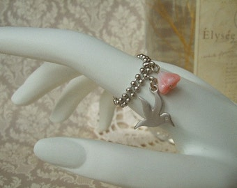 ON SALE  The Bird and The Flower Ring - Pink and Silver