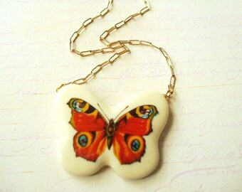 ON SALE Butterfly Necklace 3 in Red, Yellow & Blue
