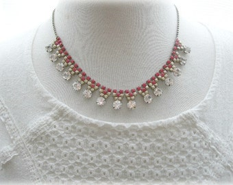 ON SALE  Rhinestone Necklace in Red and Gold