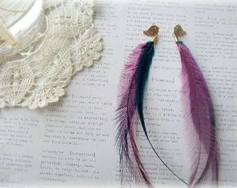 ON SALE  Long Colorful Feather Earrings with Gold Bird