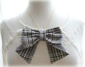 ON SALE  Black and White Checked Bow