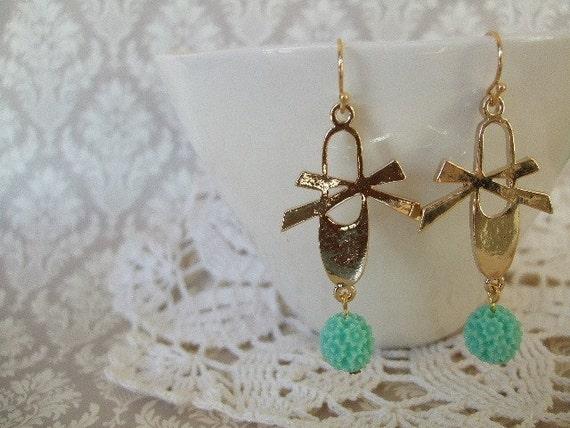 ON SALE  The Ballet Slipper Earrings in Aquamarine