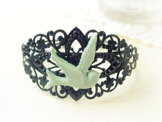 ON SALE  Black Filigree Cuff with Mint Green Swallow