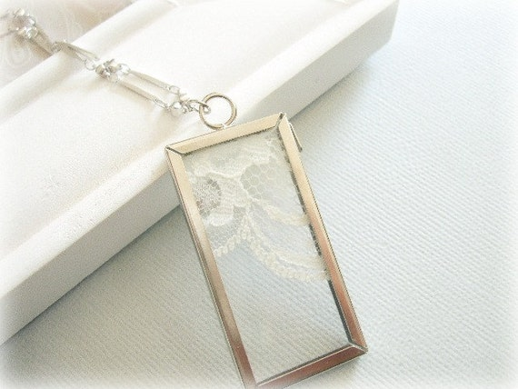 Silver Long Lace in Frame Necklace