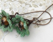 vintage green crochet and rustic pearl beaded earrings