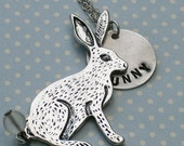 Spring Hare Bunny pendant necklace