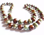 Mossy Hand Knotted Pearl Necklace