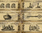 Victorian Vintage Style Jar Bottle Labels Digital Download Printable Primitive Tags Scrapbook Graphic Image DIY Collage Sheet