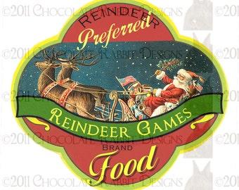 Vintage Christmas Reindeer Food Label Digital Download Printable Label Tag Card Scrapbook Image