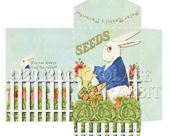 Printable Seed Packet, Vintage Peter Rabbit Gift Envelope, Seed Envelope, Peter Rabbit Party Favor, Digital Seed Packet, Instant Download