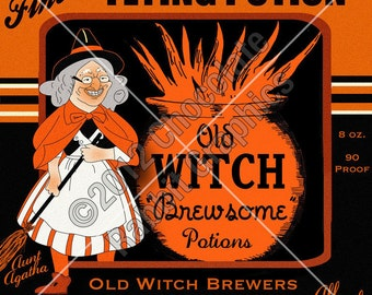 Vintage Halloween Witch Potion Digital Download Collage Card Label Tag Image
