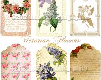 Victorian Gift Tags, Printable Tags, Floral Wedding Tags, Victorian Collage Sheet, Instant Download, Printable Price Tags