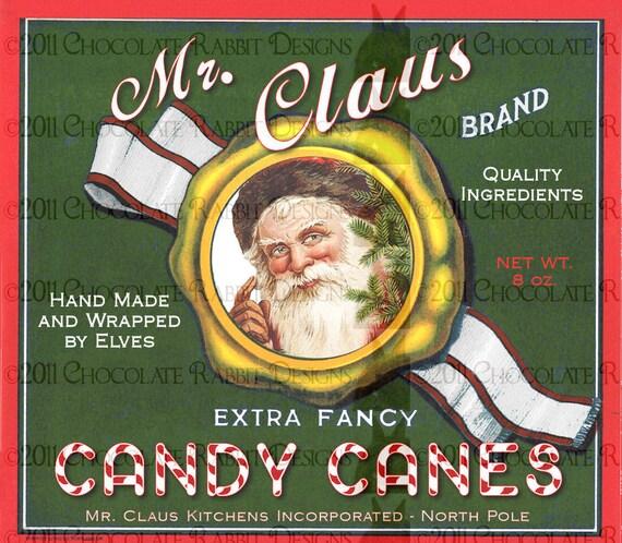 Christmas Candy Cane Vintage Style Label Tag Digital Download Printable Santa Scrapbook DIY Collage Card Clip Art Graphic Image Sheet