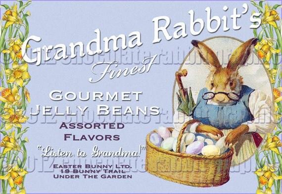 Vintage Easter Rabbit Candy Label Collage Sheet Digital Download Tag Card Scrapbook