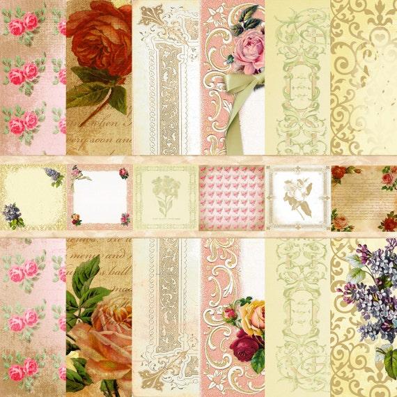 Vintage Victorian Digital Scrapbook Paper Pack Flowers Floral Download Background Papers Collage Sheet
