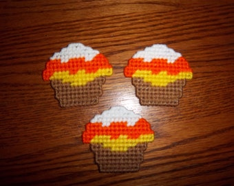 3 Handmade Candy Corn Cupcake Magnets with Plastic Canvas