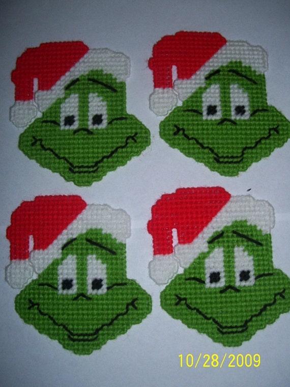 4 Handmade Grinch Coasters Plastic Canvas