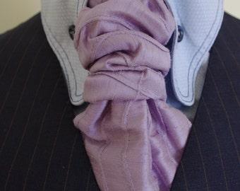 ripple stitched lilac silk tie ascot cravat scrunch tie handmade in leeds west yorkshire England