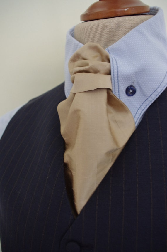 gold silk tie ascot cravat scrunch tie handmade in leeds west yorkshire England