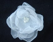 White Bridal Hair Flower, Pin or Bracelet (2 Inch)