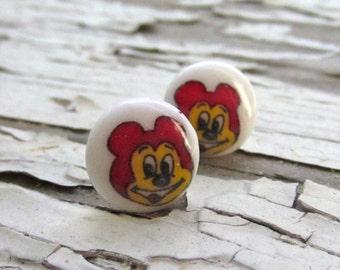 stud earrings, vintage lucite, japanese bears, handmade. hai