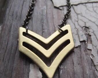 chevron necklace, brass, geometric.  major.