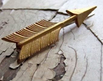 arrow bobby pin, brass arrow barrette.  straight shooter