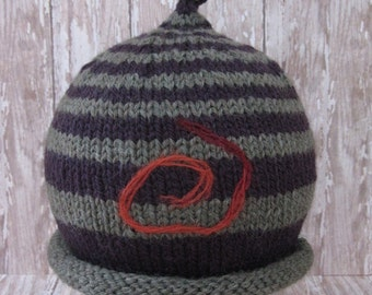 I Love Olive  handknit olive green and purple baby hat with needle felted energy symbol