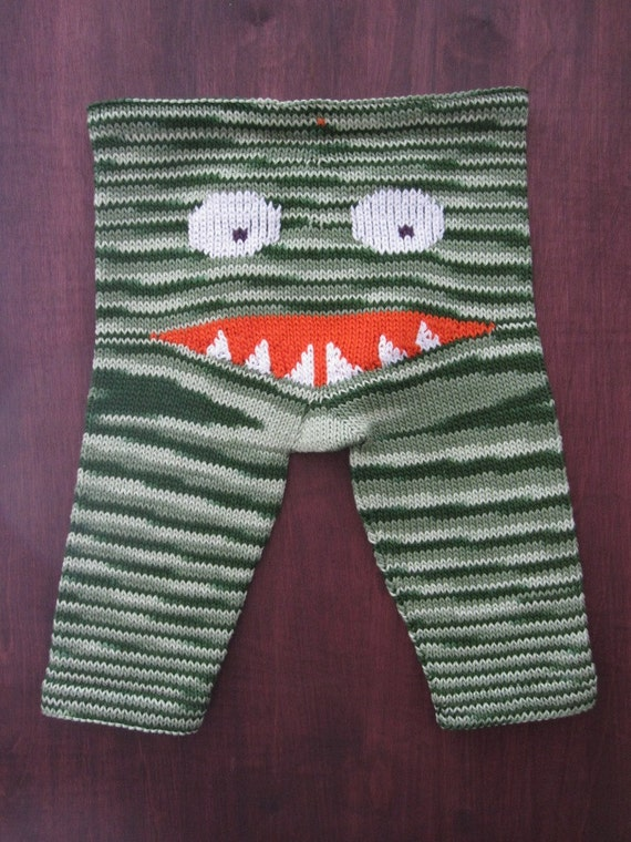 "Funky Baby ""Jaws"" handknit  baby pants"