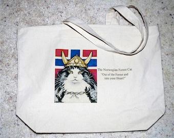 Cat Tote Bag, Norwegian Forest Cat, Viking helmet, Viking Wegie, red white blue canvas tote