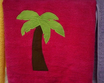 Hot Pink Palm Tree Towel