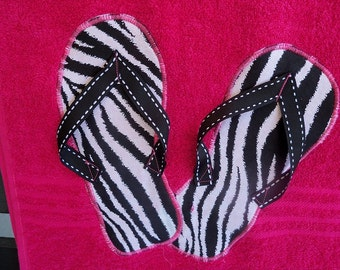 Hot Pink Zebra Flip Flop Towel
