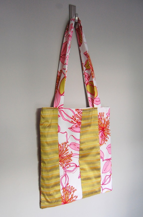 Essential Lined Fabric Tote - Neon Pink Floral Cotton and Yellow Stripe Silk - Beach Bag - Book Bag - Market Tote