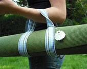 Repurposed Yoga Strap and Handle in Blues, Greens and White Stripes free shipping