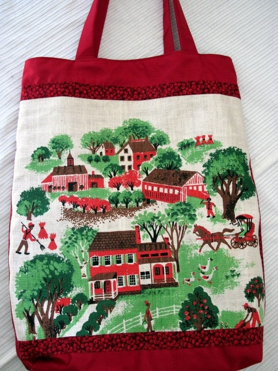 1964 Apple Red Village Market Tote