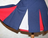 SALE  Super cute navy blue red and white girls cheer leader skirt color guard pom pom