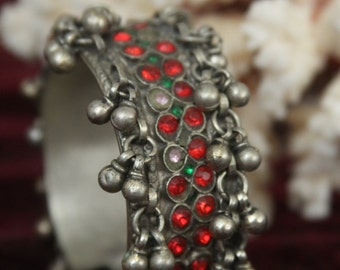 Tribal silver cuff bracelet -- old Kuchi jewelry - red glass stones and gypsy bells -- pin closure -- heavy patina FREE SHIPPING SALE