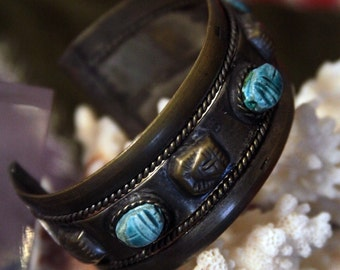 Egyptian scarab beetle cuff bracelet - brass middle eastern jewelry  SALE FREE SHIPPING