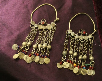 Huge Tribal silver and brass hoop earrings -- old Kuchi jewelry -- heavy patina FREE SHIPPING SALE