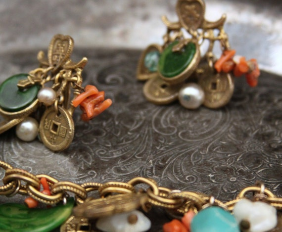 RESERVED for LadyAraby  Asian themed charm bracelet and earrings   FREE SHIPPING