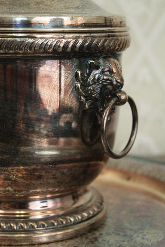 Beautiful LION HEAD silver ice bucket BEAUTIFUL HEAVY PATINA  by POOLE