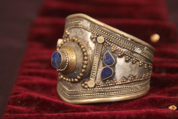 Tribal cuff bracelet -- wide with pointed shape -- natural lapis lazuli stones -- old Afghan tribal  FREE SHIPPING SALE