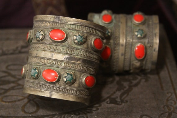 Tribal silver cuff bracelet pair -- antique jewelry - red and green glass stones -- Heavy Patina FREE SHIPPING SALE
