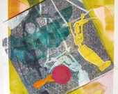 Contemporary Mixed Media Monoprint : Fish Out Of Water (poolside)