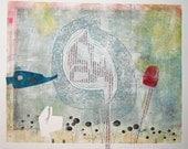 Original Fine Art Monoprint : SpringAwakening