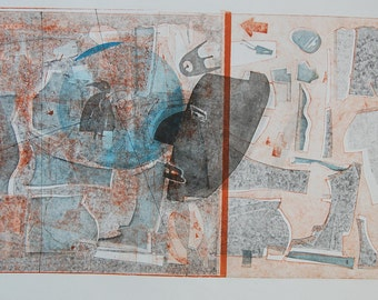 Modern Art Monoprint : FaceTheMusic2